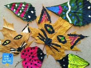autumn handcraft with kids leaf